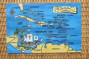 MAP Postcard : THE ENCHANTED CARIBBEAN - Barbados stamp
