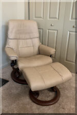 EKORNES NORWAY STRESSLESS PRESIDENT RECLINER PALOMA LEATHER SAND BEIGE OTTOMAN