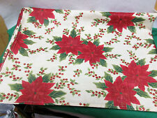 """Christmas Poinsettia Table Cloth 84"""" Long X 60"""" Wide Cotton/Poly Machine Wash"""