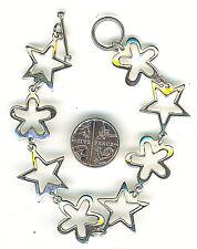 """925 Sterling Silver Star & Flower Bracelet Open Link Length 7.1/2"""" Over 8 grams"""
