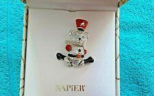 NIB Napier Silver BEAR Winter Holiday Christmas Brooch Pin  Brand New