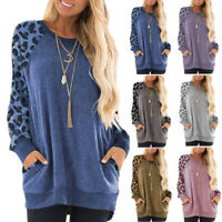 Womens Long Sleeve Leopard Loose Pullover Casual Tunic Sweateshirt Tops Blouse