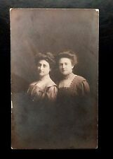 {BJ STAMPS} 2 Women GIBSON Girl hairstyles Edwardian Dresses REAL Photo Postcard