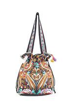 Hmong Draw String Bag Bird Pattern Embroidered Flat Straps Ethnic Tribal Handbag