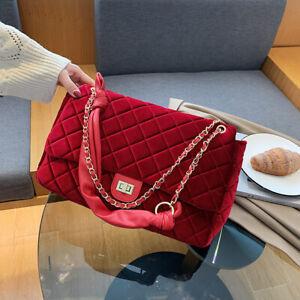 Women Large Capacity Velvet Handbag Chain Messenger Crossbody Purse Shoulder Bag