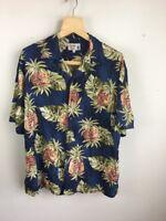 Iolani Mens Hawaiian Shirt XL Blue Pineapple Floral Short Sleeve Made in Hawaii