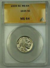 1935 US Buffalo Nickel 5c Coin ANACS MS-64 (Better)