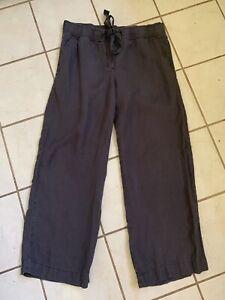ANN TAYLOR LOFT Dark Gray 100% Linen MARISA Drawstring Wide Leg Pants Sz M