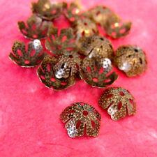 50pcs Antique Bronze Five Leave Bead Caps A012