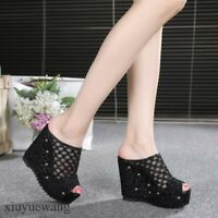 Womens Peep Toe Mesh Hollow Out Slippers High Platform Wedge Heel Shoes Sandals