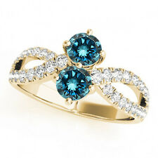 1.36 Cts Blue VS2-SI1 2 Stone Diamond Solitaire Engagement Ring 14k Yellow Gold