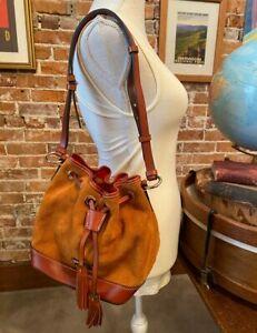 Dooney & Bourke Honey Brown Suede Small Drawstring Bag New Bucket