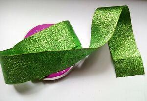 Lime Green Ribbon, Metallic Shiny 1 1/2 wide Mesh Sheer