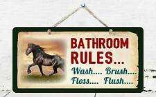 "314HS Horse Bathroom Rules 5""x10"" Aluminum Hanging Novelty Sign"
