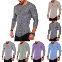 Fashion Mens Slim Fit O Neck Long Sleeve Muscle Tee T-shirt Casual Top Blouse US