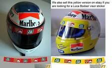 Helmet Visor sticker to fit Schumacher Badoer  Tic Tac Ferrari F1 Red Background