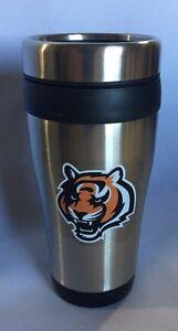 Cincinnati Bengals Logo Travel Mug Tumbler Stainless Steel NEW Silver 12 ounces