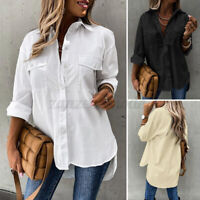 Women Solid Plain Blouse Tops Ladies Baggy Long Sleeve T-Shirt Office Top Plus