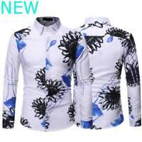 Casual Dress Shirts Long Sleeve Top Shirt Blouse Slim Fit Mens Stylish Floral