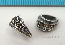 3x STERLING SILVER MARCASITE PENDANT SLIDE BAIL CONNECTOR BEAD 4.3mm hole #2317A