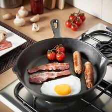 Cast Iron Skillet Frying Pot Grill Pan Saucepan Panful Sauté 25cm Pre-seasoned