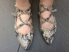 BLINK GREY/BEIGE SNAKESKIN PRINT POINTED TOE FLAT STRAPPY SHOES UK5 STEAM PUNK