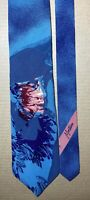 Claude Montana Paris 100% Silk Tie Made In Italy Blue Pink Floral