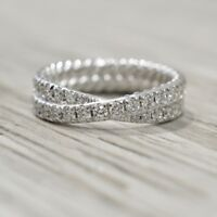 1.CARAT DOUBLE ROW CROSSOVER DIAMOND ETERNITY BAND IN 14K WHITE GOLD OVER