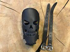 Drink Holder Real Leather Black Skull New Bottle Holder Custom Bike