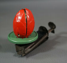Vintage German Mechanical Tin Toy Spinning Flower Bud w Princess Wind Up Push