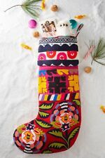 Anthropologie VERDURE Christmas Stocking Embroidered Felted Wool Applique NWT
