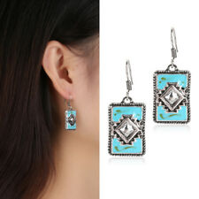 Antique Women 925 Silver Turquoise Gems Wedding Engagement Drop Dangle Earrings
