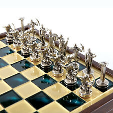 Manopoulos Hercules Chess Set - Brass&Nickel - Wooden case Green-Brass Board