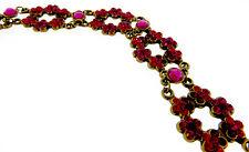 "Michal Negrin NWT Romantic Flower 6 Station Raspberry Interlocking Bracelet-7"""