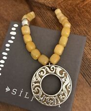 "Yellow Serpentine Bead Neckace 18"" Silpada N1837 Sterling Silver Brown Leather"