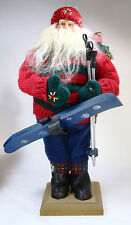 "17"" Alpine Chic Standing Santa Claus Skis Poles Packages Christmas Figurine"