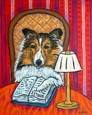 sheltie shetland sheepdog reading library art  dog art print 11x17