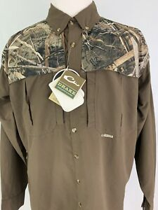 DRAKE WATERFOWL SYSTEMS MENS LARGE L CAMO WINGSHOOTER'S LONG SLEEVE SHIRT NWT