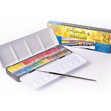 Sennelier l'aquarelle Artisti Acquerello 24 Half Pan Metal Box Set