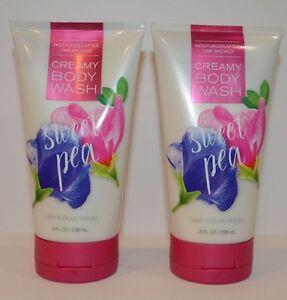 2 Bath & Body Works Sweet Pea Moisturizer Creamy Body Wash 8 oz NEW