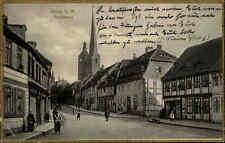 Burg bei Magdeburg s/w AK mit Goldrand 1926 gelaufen Partie im Breiteweg Kirche
