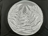 Large Hoya Art Glass Platter Frosted Fern Cut Bas-relief Leaves Serving/Display