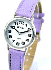 Ravel Ladies Super Bold Big Number Everyday Watch with White Dial Lilac Strap