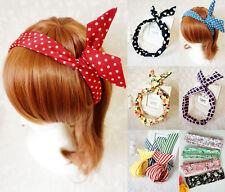 Bunny Ears Wire Hair Headband Ladies Women Girls Bowknot Wrap Scarf Accessories