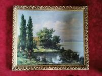 Original Oil Painting. Countryside Scene. Attractive Ornate Gold Frame . Signed
