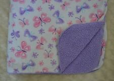 Small Wonders Butterfly Baby Blanket Purple Pink White Blue Sherpa Security