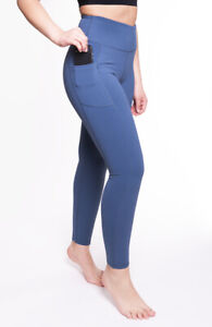 "Women Leggings High Waist Mid Blue Yoga Pants Tummy Control Pockets 28"" AZARMAN"