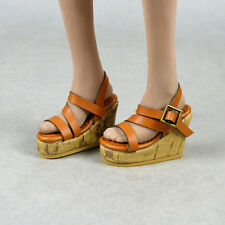 1/6 Scale Phicen, TBLeauge, NT Female Medium Brown Strap Sling-Back Wedge Shoes
