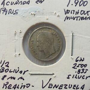 1900 Venezuela 1/2 Bolivar Silver Coin Gram 2.500