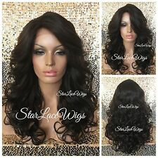 Long Curly Brown Lace Front Wig Layered Color #4 Bangs Heat Safe Ok
